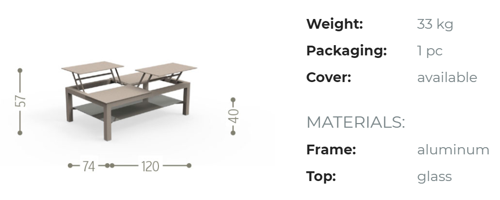 CHIC BIG OPENING COFFEE TABLE